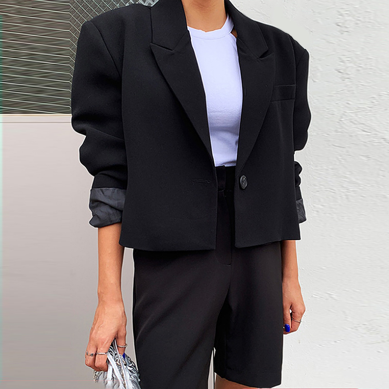 LANMREM High Quality Suit Set Woman 2020 Spring Summer New Short Style Loose Blazer + Half Shorts Temperament 2 Pieces Set YJ108