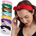 Женские хлопковые повязки для волос с бантом, летняя повязка на голову, модные спортивные резинки для волос, тюрбан для девочек, аксессуары ...