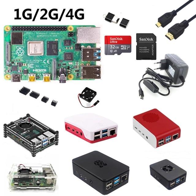 التوت بي 4B بدء عدة مع التوت بي 4B 1G/2G/4G + 32GB بطاقة SD + ABS حافظة + 5V 3A الطاقة + مروحة + المبرد + HDMI