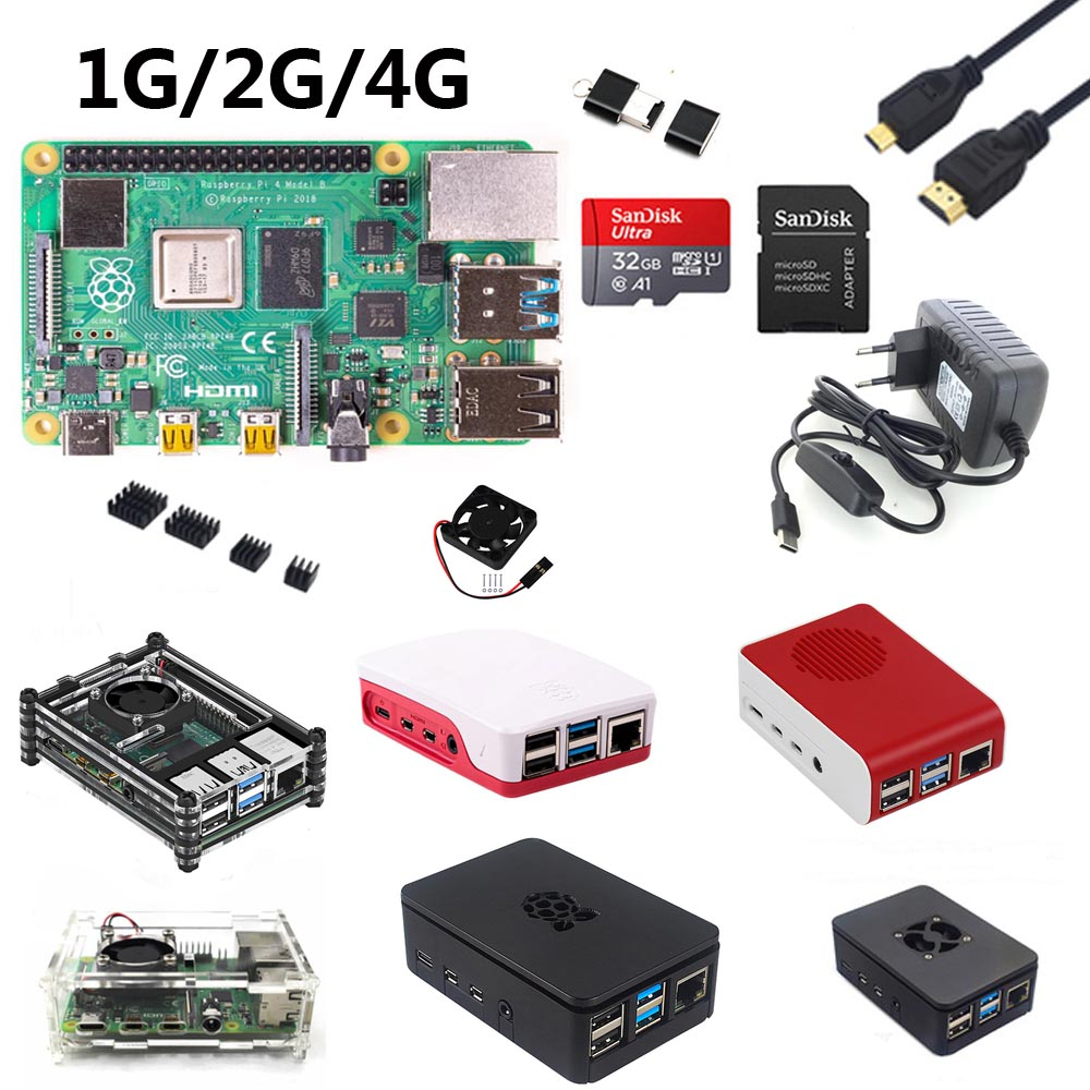 Raspberry Pi 4B Start Kit With Raspberry Pi 4B 1G/2G/4G +32GB SD Card+ABS Case+5V 3A Power+fan+Heatsink +HDMI