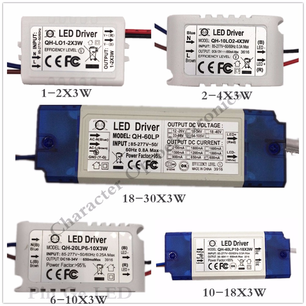 1PCS 1-2X3W 2-4X3W 6-10X3W 10-18X3W 18-30X3W LED Driver Power Supply Transformer Light Power Supply F 3w LED Chip
