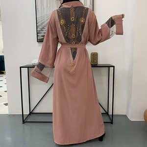 Luxurious palace diamond beading muslim peignoir canonicals robes female full length opened Abaya Muslim Dress Robes F1647