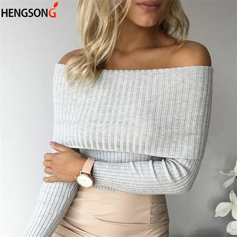 Сексуальный вязаный свитер с открытыми плечами, женские осенние тонкие свитера и пуловеры, джемпер, розовый, черный