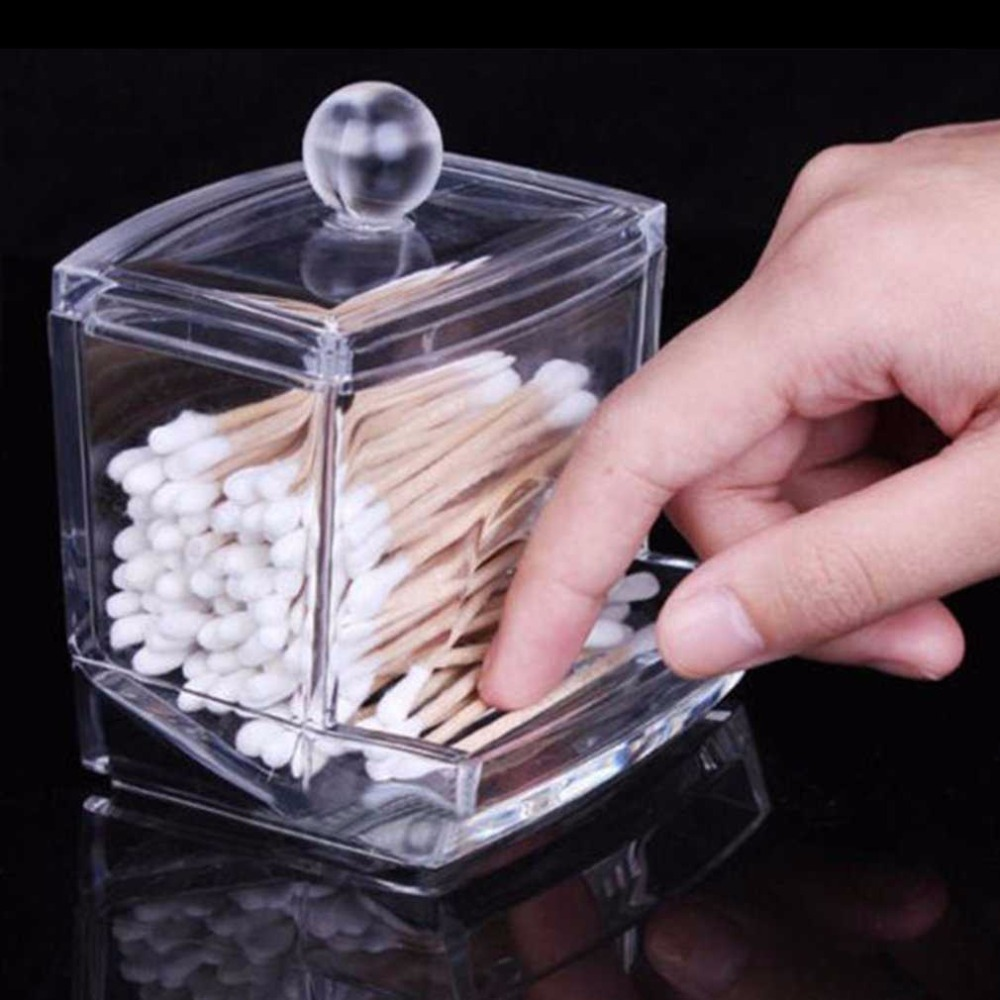 Акриловый прозрачный ящик для хранения ватных палочек, прозрачный держатель для ватных палочек, органайзер для косметики, контейнер