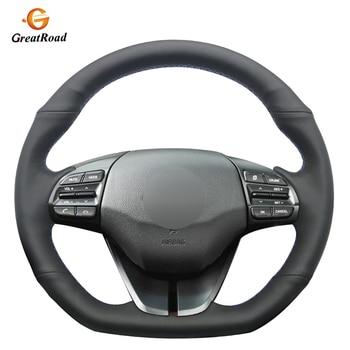 Black Genuine leather Anti-slip Car Steering Wheel Cover for Hyundai Elantra 4 2016 2017 2018 2019 Ioniq 2017-2019