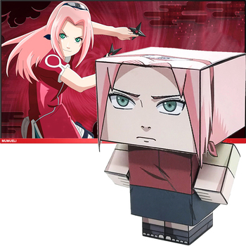 Naruto Haruno Sakura Folding Cutting Mini Cute 3D Paper Model Papercraft Anime Figure DIY Cubee Kids Adult Craft Toys MG-024 image