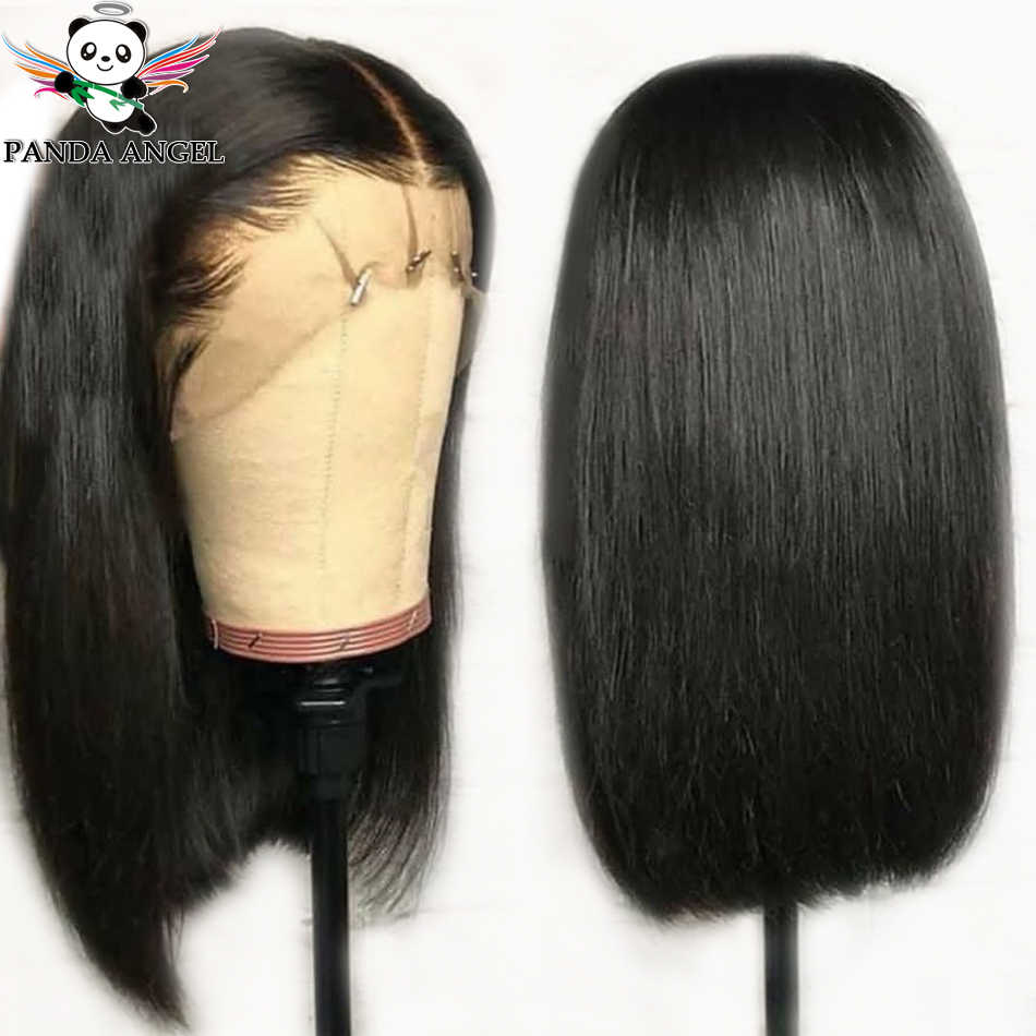 Panda 13*4 Straight Lace Front Bob Wigs Indian Remy 150% Density Short Bob Lace Front Human Hair Wigs Pre-Plucked Bleached Knots