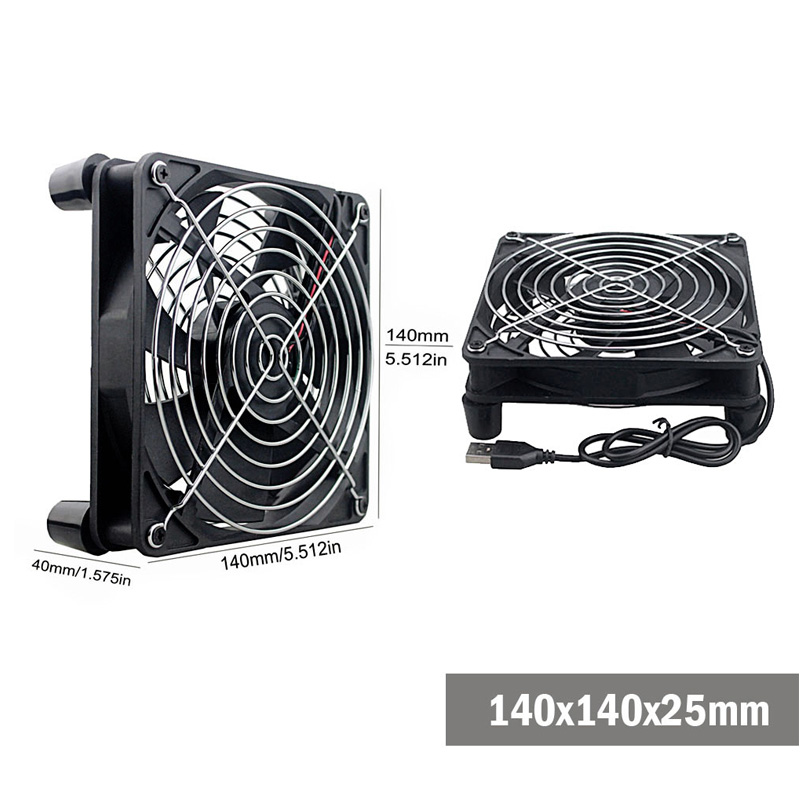 Gdstime 5V USB Router Fan TV Box Cooler 80mm 92mm 120mm 140mm PC DIY Cooler W/Screws Protective net Silent Desktop Fan 5