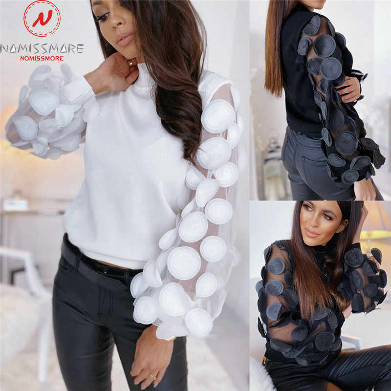 Fashion Women Spring Autumn T-Shirts Dot Print Lace Decor See Through O-Neck Puff Sleeve Solid Color Slim Pullovers Top