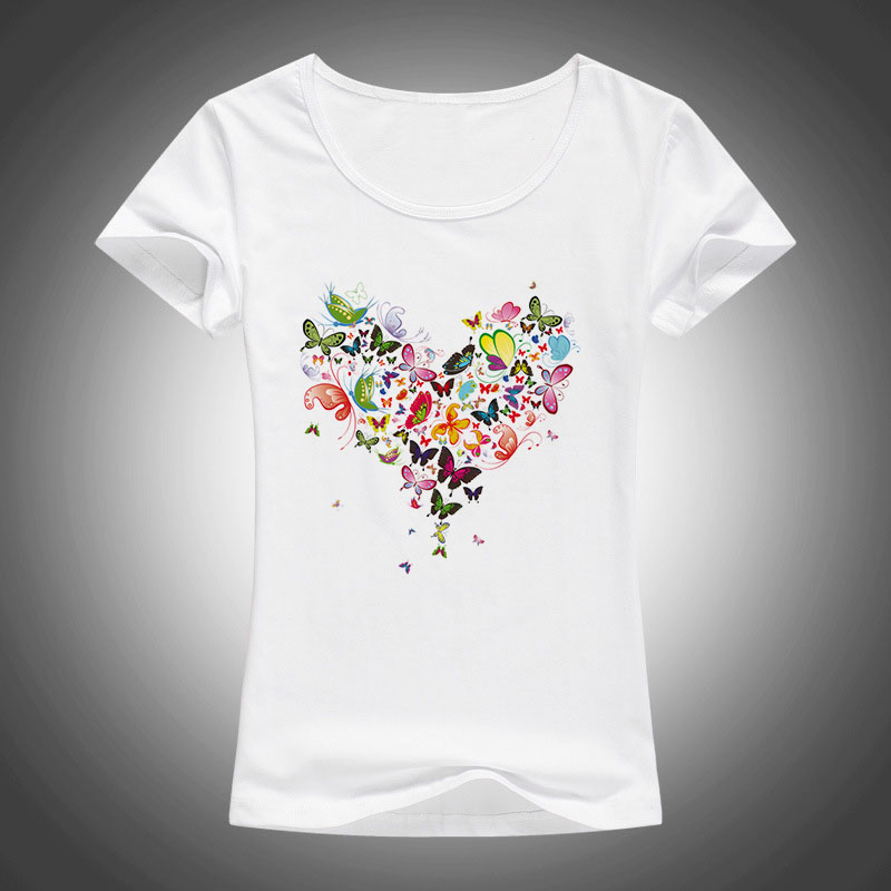 2020 summer Kawaii Heart shape colorful butterfly t shirt women beautiful summer cotton printed tee brand fashion Harajuku tops