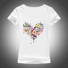 2020 summer Kawaii Heart shape colorful butterfly t shirt women beautif