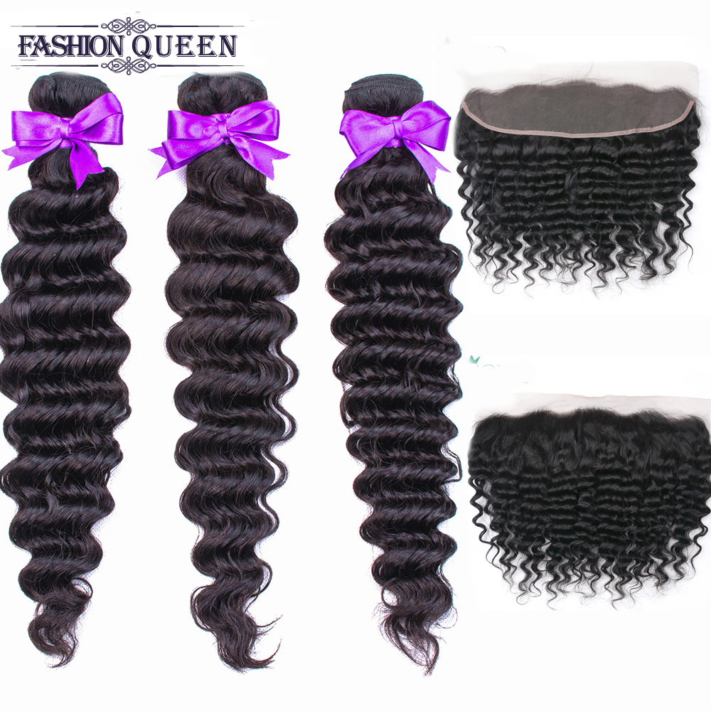 Deep Wave Bundles With Frontal Remy Malaysian Human Hair Bundles With Closure Hair Weave 3 Bundles With 13x4 Frontal-in 3/4 Bundles with Closure from Hair Extensions & Wigs    1