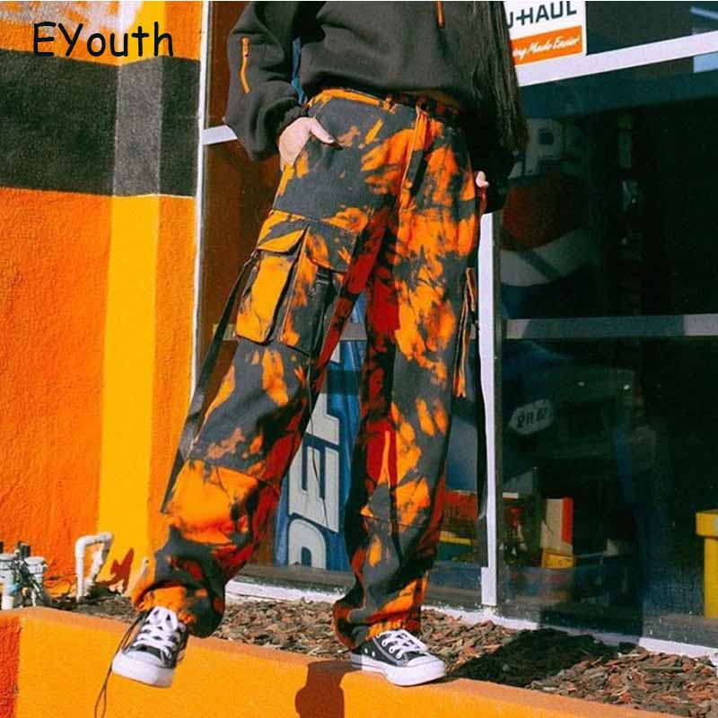 Loose Camo Cargo Pants Pockets Streetwear Orange Hip Hop Sweatpants Tie Dye Harajuku Fitness Capris Trousers Korea