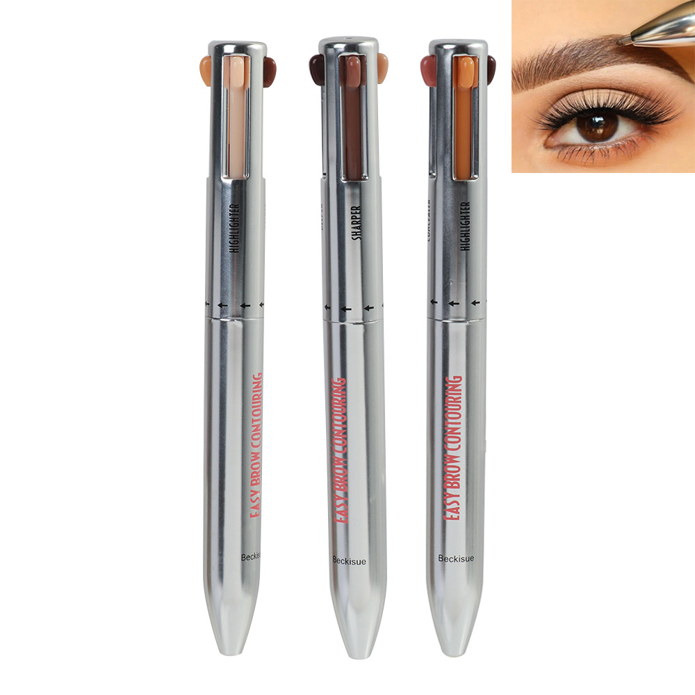 4 In 1 Eyebrow Pencil Waterproof Drawing Eye Brow Pencil Long Lasting Easy Color Eyebrow Pen Women Makeup Cosmetic Tool
