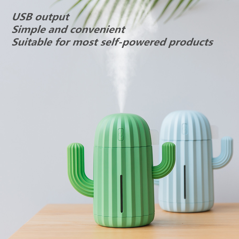 340ML USB Ultrasonic Air Humidifier Cactus Timing Aromatherapy Oil Diffuser Essential Mist Maker Fogger Mini Aroma Atomizer