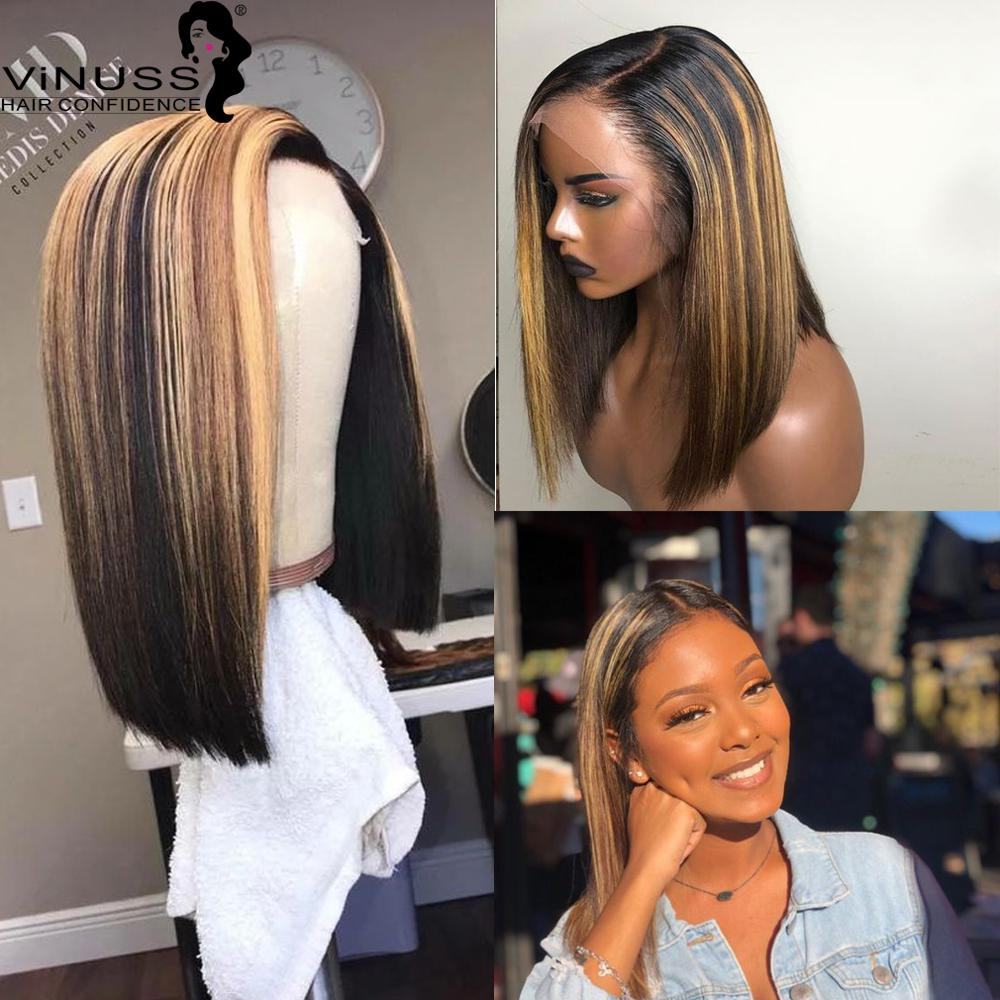 Ombre 1B/27 Bob Lace Front Wigs Honey Blonde Highlight 13x6 Short Bob Lace Front Human Hair Wigs Pre Plucked Brazilian Remy Hair