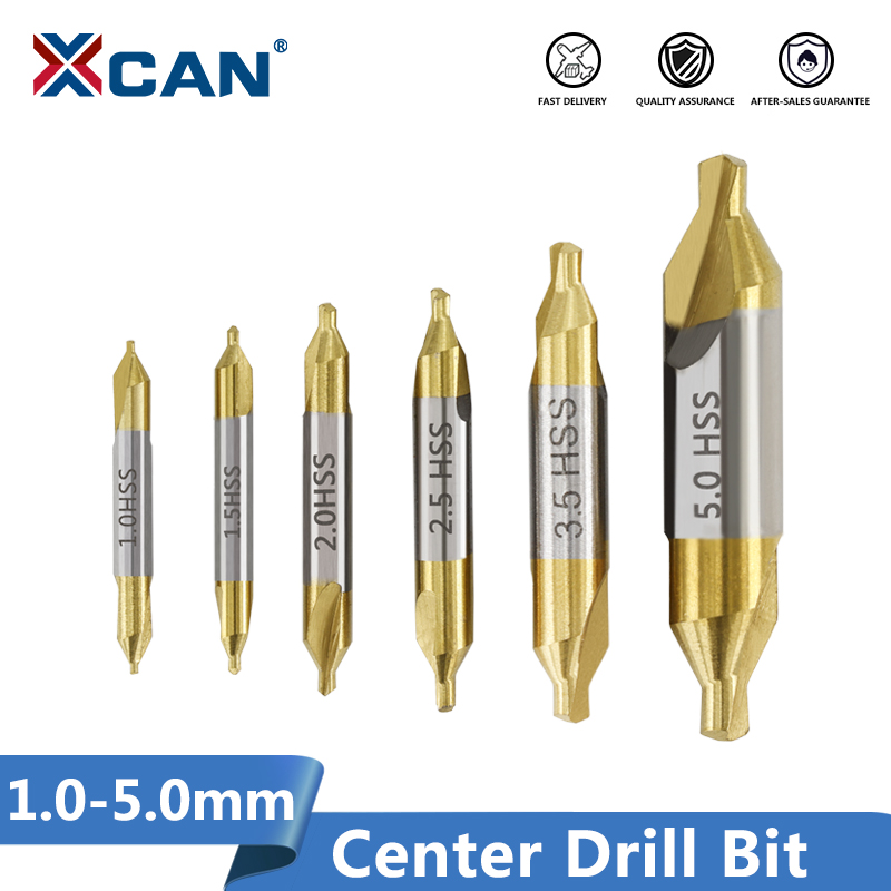 XCAN 6pcs 1.0-5.0mm HSS TiN Coated Center Drill Bit Set Metalworking Hole Drill Hole Cutter 60 Degrees Combined Drill Bit Set