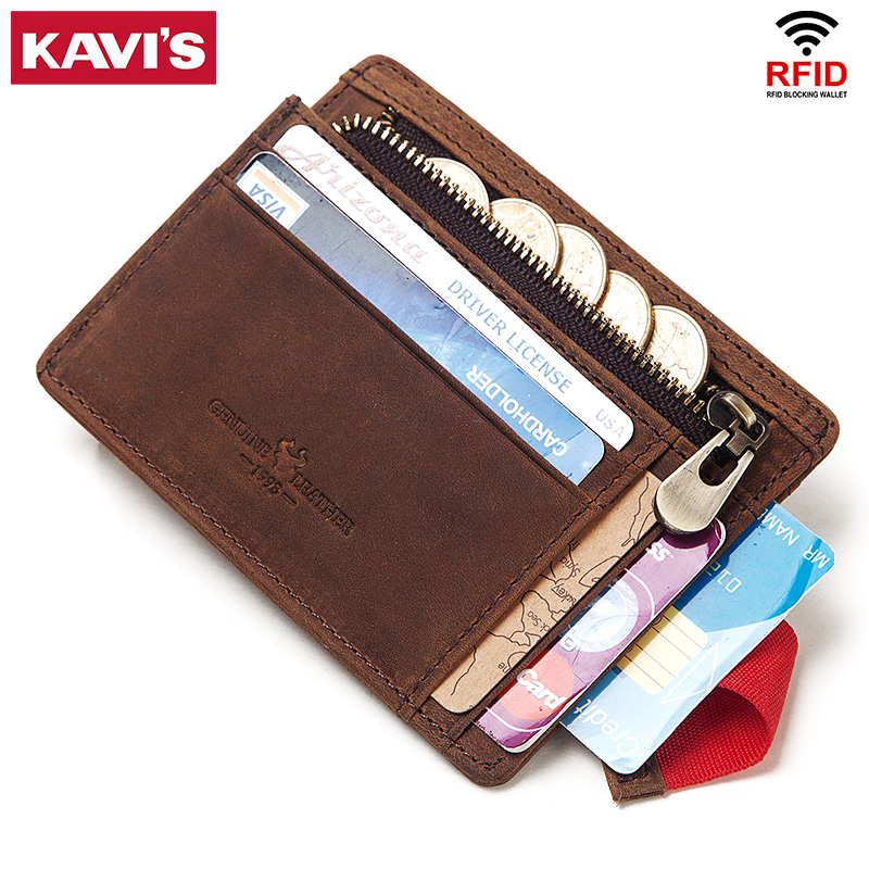 KAVIS 100% Genuine Leather Credit Card Holder Travel Men Male Case Wallet Thin Business Zipper Slim Coin Purse