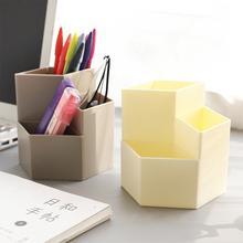 Desktop Storage Box Hexagonal Office Pen Pencil Holder Desk Organizer Stationery Supply