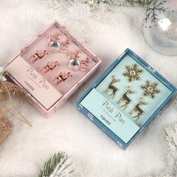 Nunca navidad regalo de Año Nuevo papelería Pin de tachuelas de oro rosa pasadores forma de cabeza de ciervo tachuelas para oficina y decoración del hogar