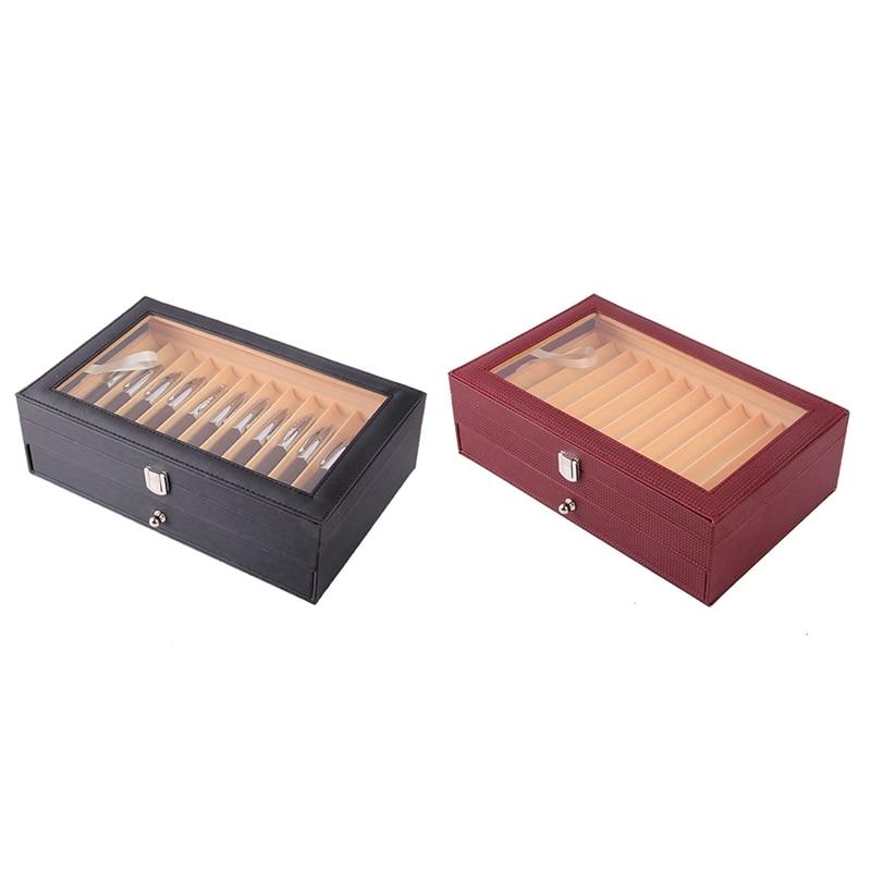2X 24 Pen Fountain Wood Display Case Holder Wooden Pen Box Storage Collector Organizer Box Black & Wine Red