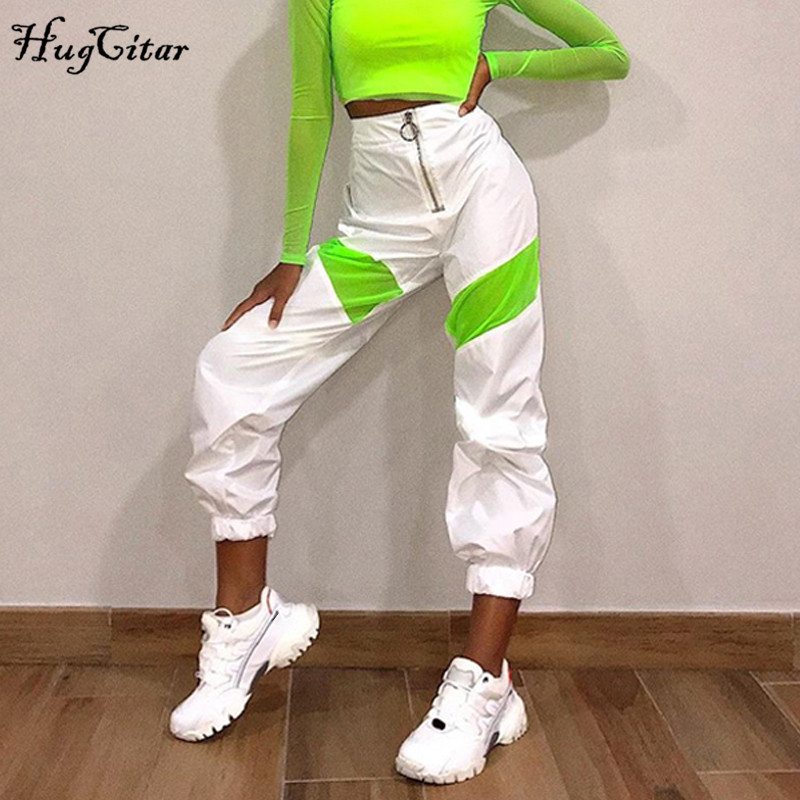 Hugcitar 2019 High Waist Zippers Patchwork Cargo Pants Autumn Winter Women Steetwear Outfits Windbreak Trousers