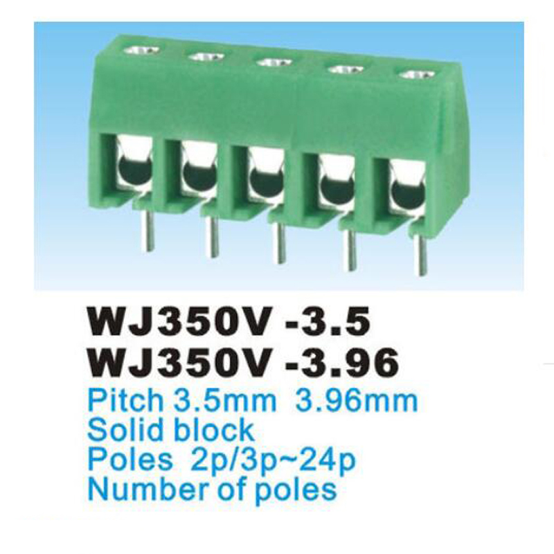 50pcs 3 poles//3 Pin 3.96mm straight PCB Universal Screw Terminal Block Connector