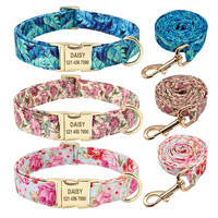 Personalized Dog Collar And Leash Set Nylon Dog Collars Floral Printed Pet