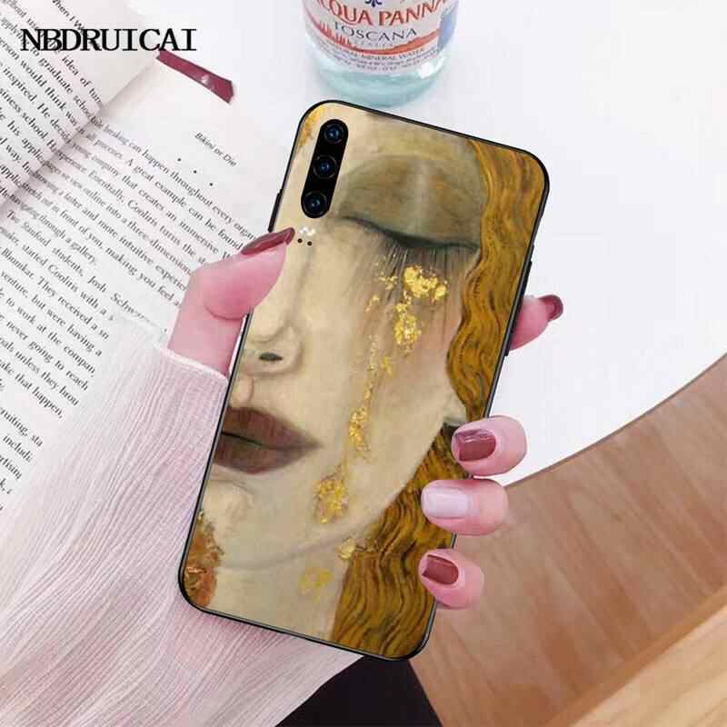 PENGHUWAN öpücük Gustav Klimt boyama DIY boyalı Bling telefon kılıfı için Huawei onur 20 10 9 8 8x 8c 9x 7c 7a Lite görünüm