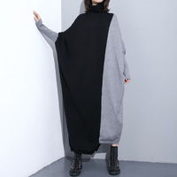 Women Turtleneck Sweater Dress New X long Oversized Pullover Colour Block Patchwork Knitted Sweater Bawing Sleeve Warm Jumper
