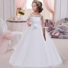 Пышное Бальное платье принцессы с вышивкой; вечернее платье с длинным шлейфом и большим бантом; элегантное платье с цветочным узором для девочек; Vestido Comunion