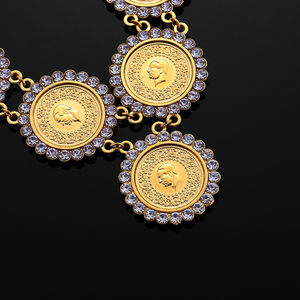 Image 3 - NEW Arabic Coin Crystal Muslim Islam Allah Necklace for Women Gold Color Arab/Africa Islamic Like Jewelry Make Money Gift Lucky