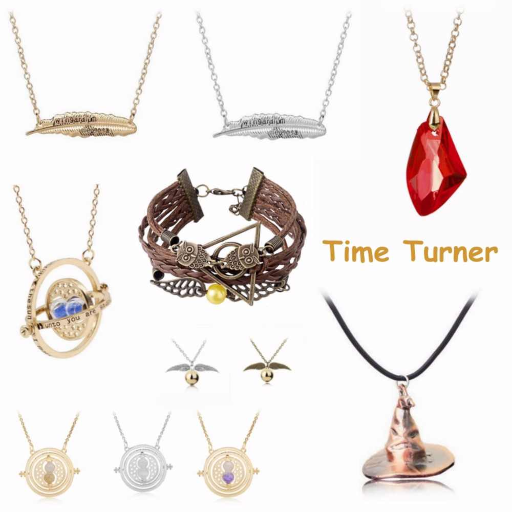 2019 Harri Potter Time Turner Hourglass Necklace Magic Wand Keychain Hermione Red Stone Golden Snitche Death Hallow Bracelet Toy