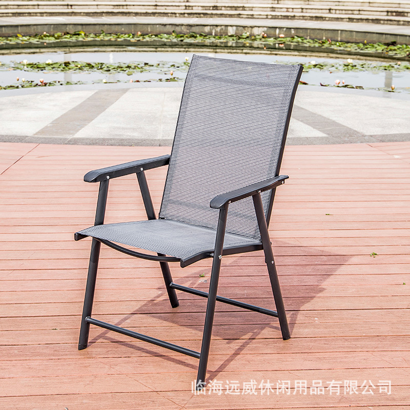 Teslin Folding Chair Metal Outdoor Leisure Folding Chair Portable Balcony Patio Chairs Backrest Chair Wholesale