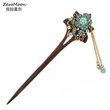 Tassel Hairpin Rhinestone Flower Fashion Jewelry Crystal Metal Vintage Women Wood