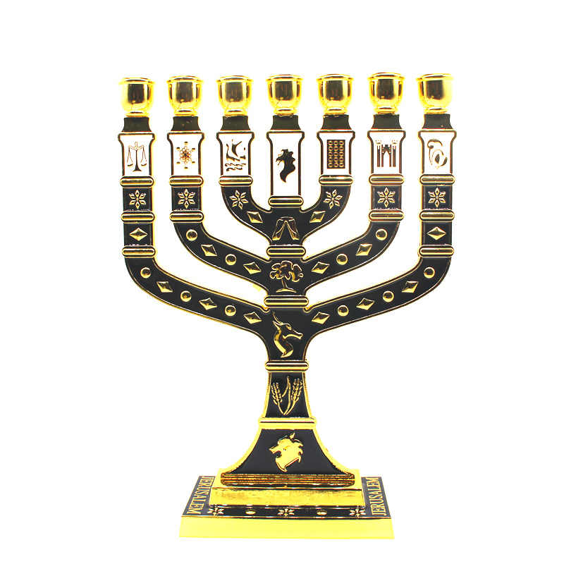 Golden Tujuh Cabang Menorah 12 Suku Israel Yahudi Candle Holder
