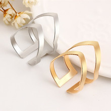 Gold Silver Color Letter V-type Unique Design Open Ring for Women Fashion Big Ring Jewelry Party Wholesale Free Shipping sweet rhinestoned letter s pattern design triangle ring for women