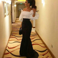 Black and White Evening Dresses 2020 Off the Shoulder Puffy 3/4 Long Sleeves evening dress Floor Length Mermaid Prom Gowns