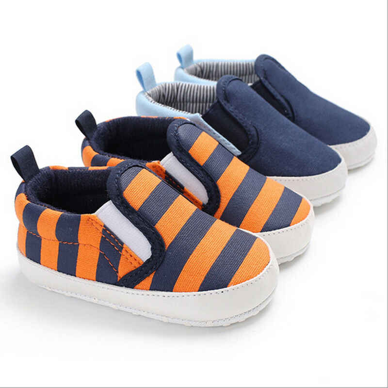 Goocheer New Pram Newborn Toddler Baby Girls Boys Kids Infant First Walkers Striped Classic Shoes Loafers Casual Soft Shoes