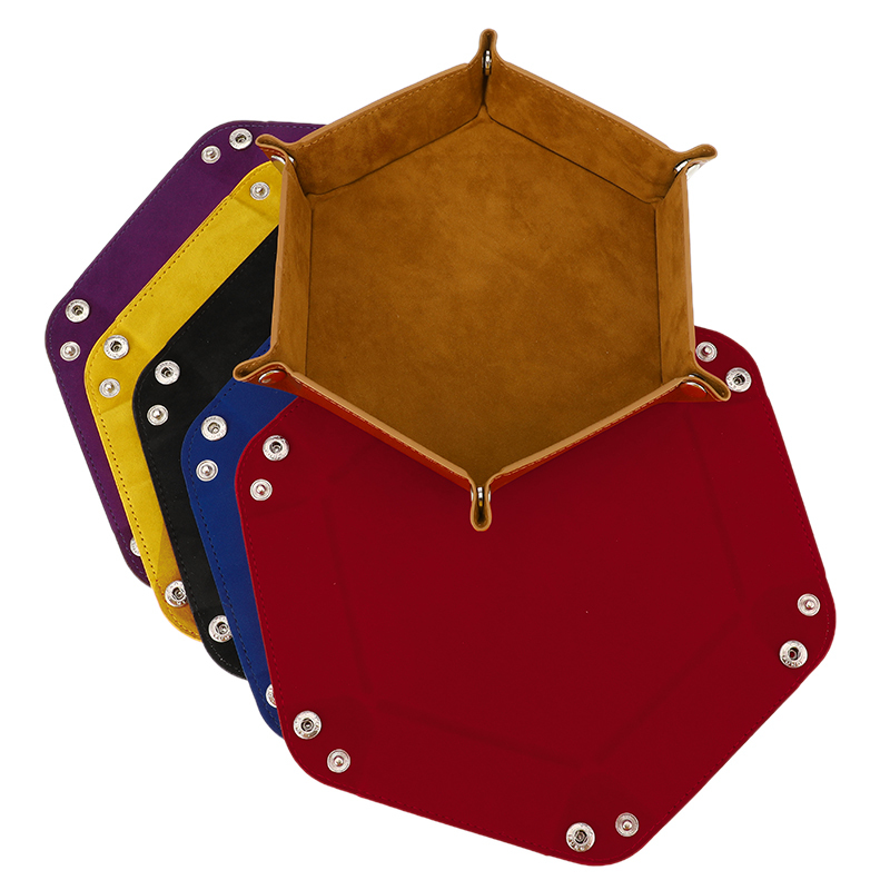 6 cor do plutônio de couro hexagonal dobrável bandeja de dados sextavados caixa de dados bandeja de jogo de dados para rpg dnd caixa de armazenamento de dados
