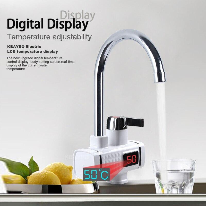 KBAYBO 3000W chauffe-eau électrique cuisine chauffage instantané froid chaud Didital affichage robinet sans réservoir pour cuisine et salle de bain - 3