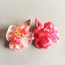 1 Pcs/lot Ribbon Flower Childrens Cute Hairclips Kids Girls Chiffon Accessories BB Clip Hairpins Barrettes Headwear