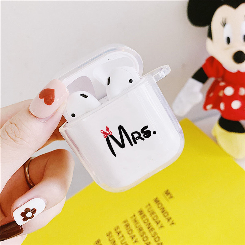 Cute Mr Mrs Earphone Case For Apple Airpods 2 1 Cartoon Couple Bluetooth Headphone Cover For Airpods Clear Soft Protect Bag Capa