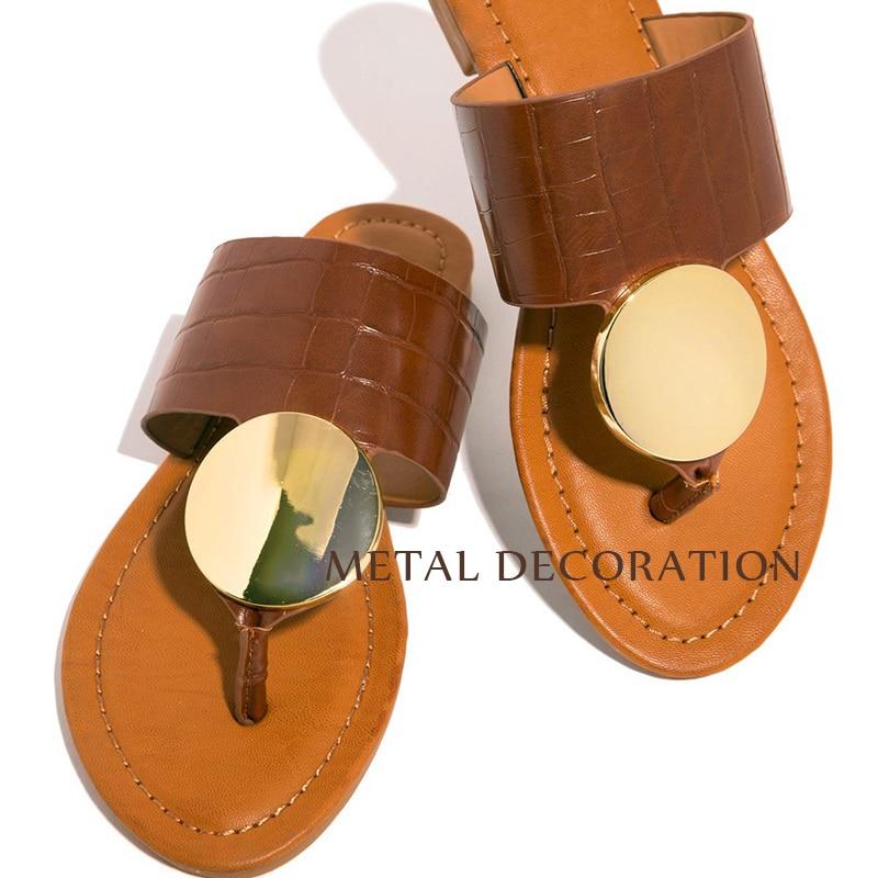 2020Women Shoes Summer Beach Slipper Fashion Metal Flat Heels Slippers Women Summer Ladies Sandals Slip On