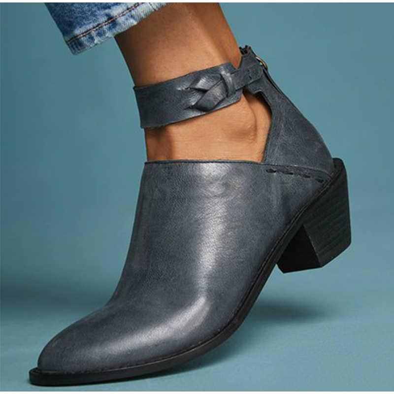 Tangnest Frauen Herbst Stiefeletten Bowtie Ankle Strap Damen Zip Spitz Chunky Heels Weibliche Schuhe Plus Größe 43 XWX7377