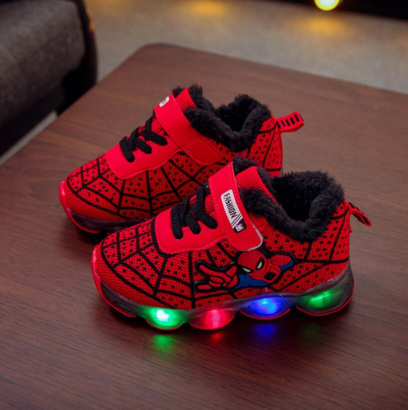 Autumn Winter Spiderman Children Shoes With Light Kids Led Shoes Luminous Glowing Sneakers Baby Toddler Girls Antiskid Shoes