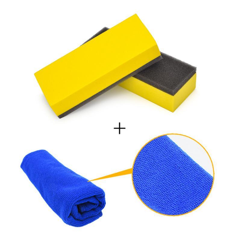 Automotive Plated Glass Coating Tools Sponges And Towels Car Liquid Coat Car Polish Sponge+Towel Waxing  Car Wash Car Cleaning