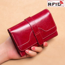 High Quality Women's Genuine Leather Wallet Female Short RFID Anti Theft Card Holder Coin Purse Wallets for Women Fashion