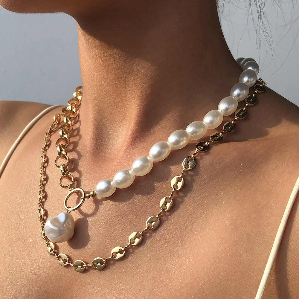 Collares de doble capa para perlas, cadenas de Color dorada, collar para  mujer, joyería Vintage a la moda, cadenas para el cuello para  fiestas|Collares colgantes| - AliExpress