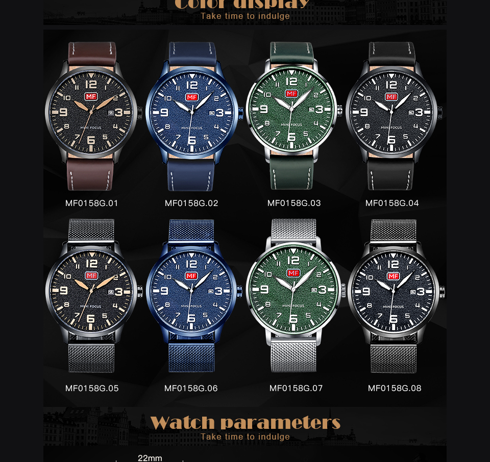 H70f88ab64e944514b4f97becaa5df38eS MINI FOCUS Luxury Brand Men's Wristwatch Quartz Wrist Watch Men Waterproof Brown Leather Strap Fashion Watches Relogio Masculino